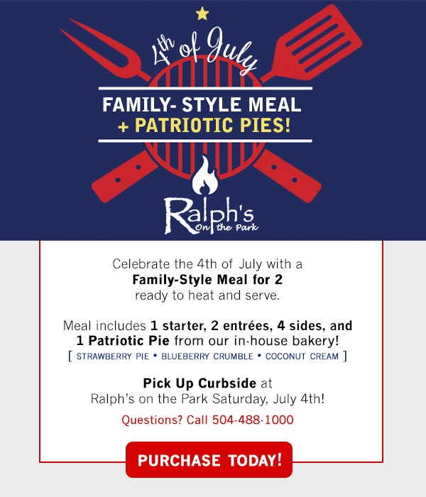 Family-Style Meal Plus Patriotic Pies.  Click to order online.