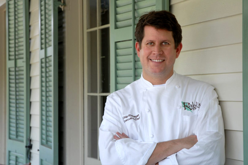 Chef Chip Flanagan standing in front of Ralph's on the Park