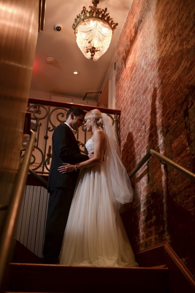 Bride and Groom on Stairwell