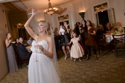 Bride Throws Bouquet