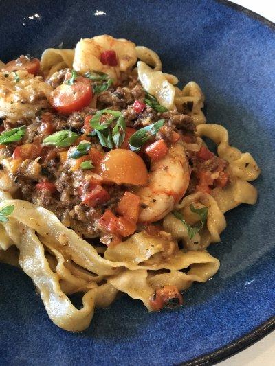 Chorizo & Red Shrimp Pasta