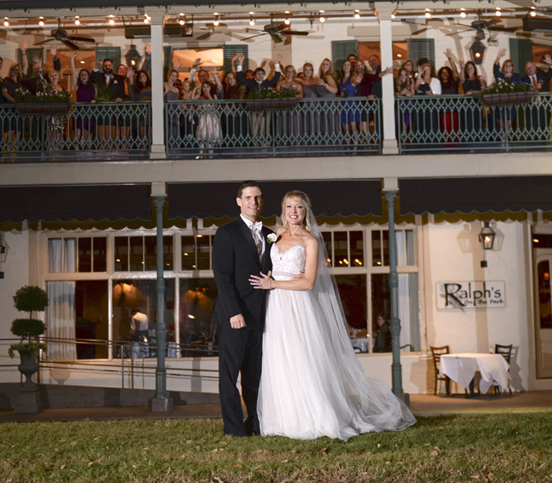 Wedding Picture showcasing the outside of Ralph's on the Park